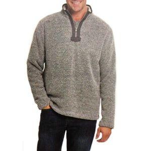 ORVIS Men Brighton Sherpa Zip Pullover Shirt Gray